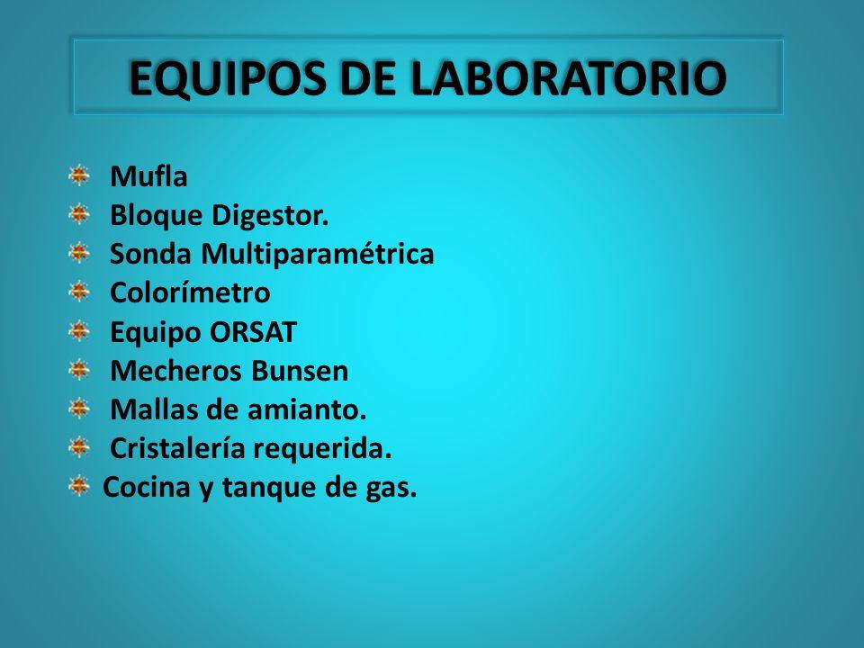 Mufla Bloque Digestor. Sonda Multiparamétrica Colorímetro Equipo ORSAT Mecheros Bunsen Mallas de amianto. Cristalería requerida. Cocina y tanque de ga