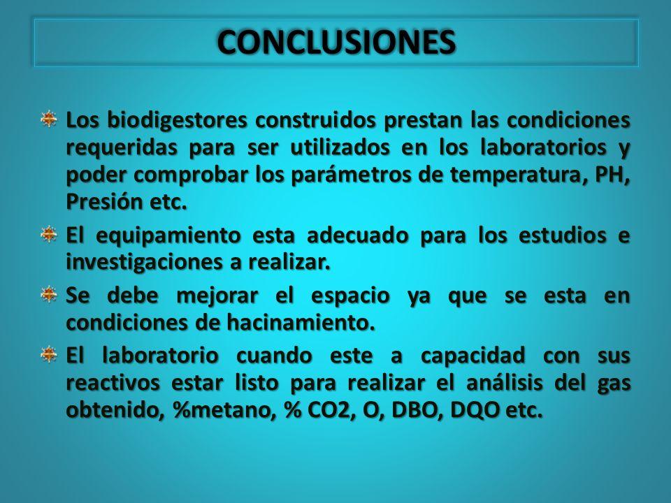 Los biodigestores construidos prestan las condiciones requeridas para ser utilizados en los laboratorios y poder comprobar los parámetros de temperatu