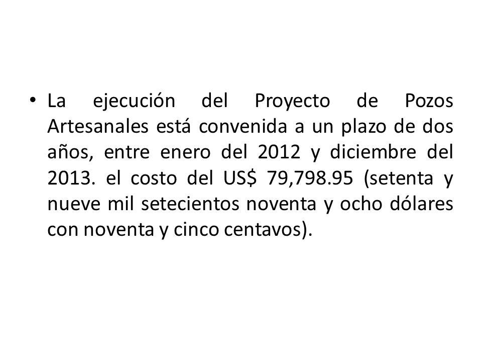 La ejecución del Proyecto de Pozos Artesanales está convenida a un plazo de dos años, entre enero del 2012 y diciembre del 2013.