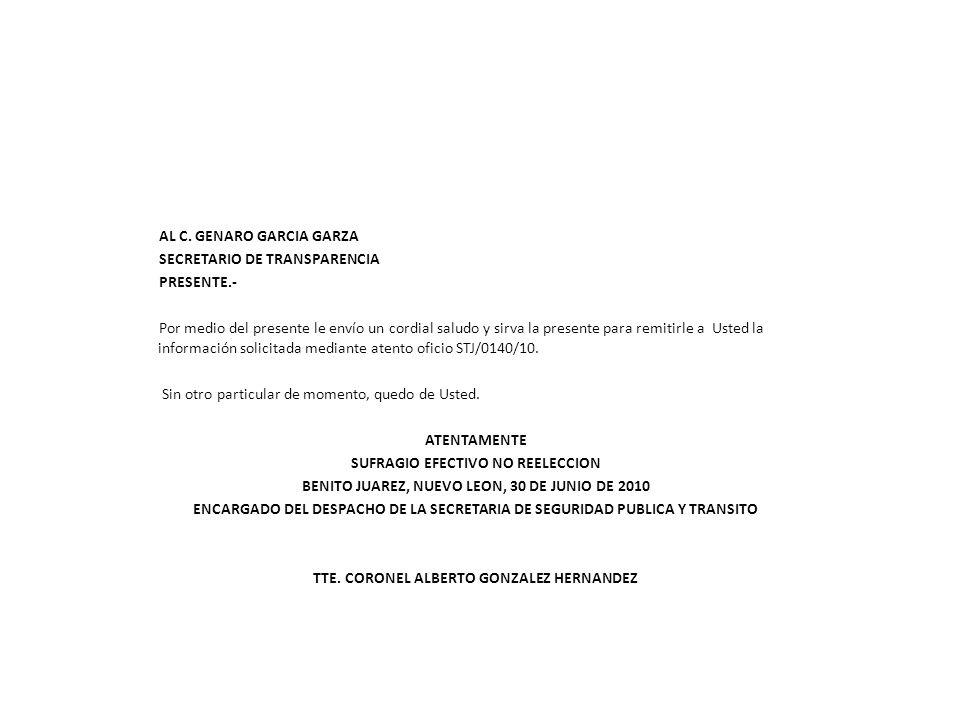 SECRETARIO DE SEGURIDAD PUBLICA Y TRANSITO FUNCIONES Y RESPONSABILIDADES Llevar a cabo la planeación estratégica, coordinación y supervisión de las Direcciones de: SEGURIDAD PUBLICA TRANSITO PREVENCION DEL DELITO ASUNTOS INTERNOS BOMBEROS PROTECCION CIVIL ADMINISTRATIVA Elaborar el programa de Seguridad de la Administración del Municipio de Benito Juárez, Nuevo León 2009- 2012 Coordinar las actividades de reclutamiento de las Direcciones antes citadas y en forma especial de la Dirección de Seguridad Pública, con el fin de dar cumplimiento a los requisitos que nos exige el Centro de información para la Seguridad del Estado respecto a la evaluación de control de confianza.