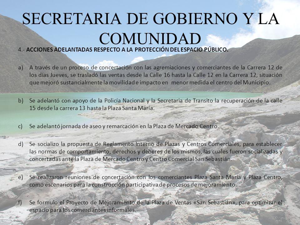 4.- ACCIONES ADELANTADAS RESPECTO A LA PROTECCIÓN DEL ESPACIO PÚBLICO.