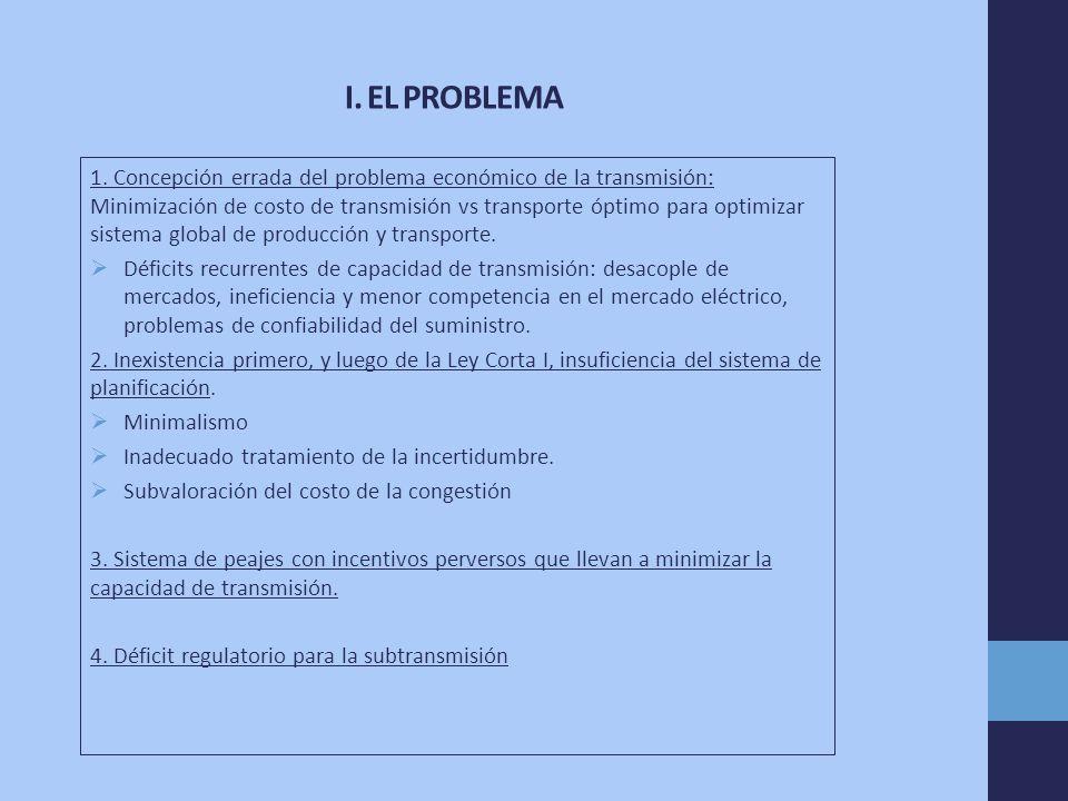 I. EL PROBLEMA 1. Concepción errada del problema económico de la transmisión: Minimización de costo de transmisión vs transporte óptimo para optimizar