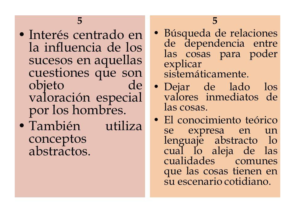 5 Interés centrado en la influencia de los sucesos en aquellas cuestiones que son objeto de valoración especial por los hombres. También utiliza conce
