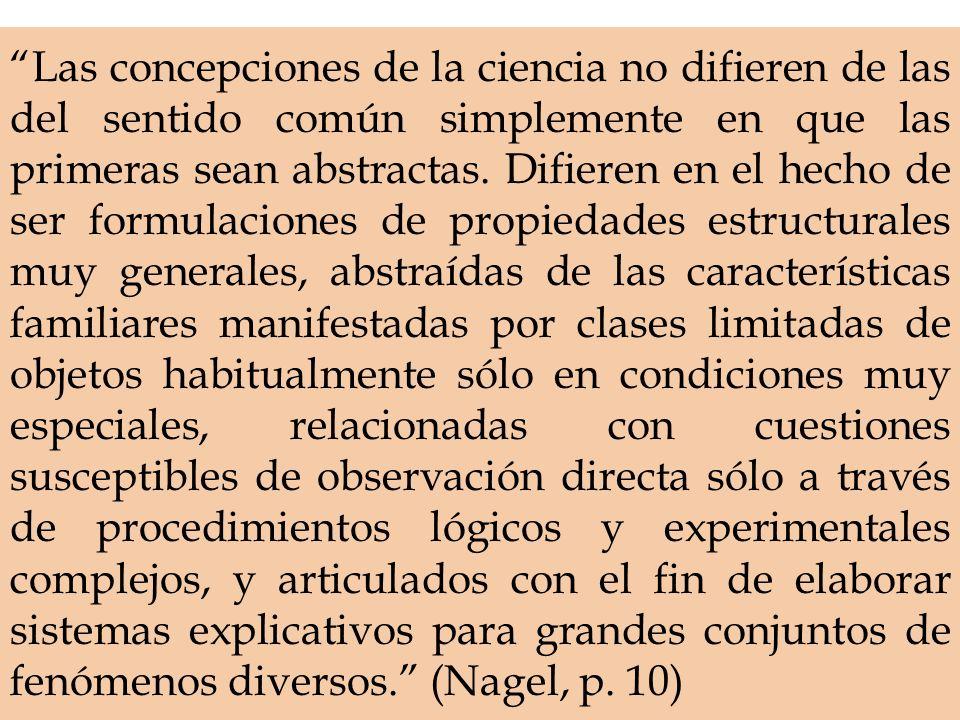 Las concepciones de la ciencia no difieren de las del sentido común simplemente en que las primeras sean abstractas. Difieren en el hecho de ser formu