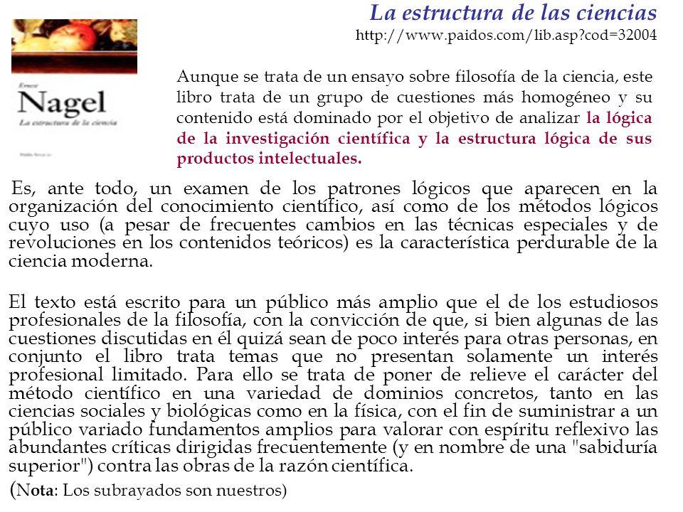 La estructura de las ciencias http://www.paidos.com/lib.asp?cod=32004 Es, ante todo, un examen de los patrones lógicos que aparecen en la organización