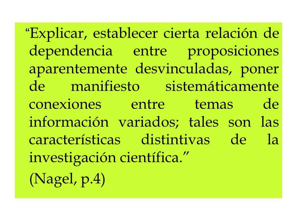 Explicar, establecer cierta relación de dependencia entre proposiciones aparentemente desvinculadas, poner de manifiesto sistemáticamente conexiones e