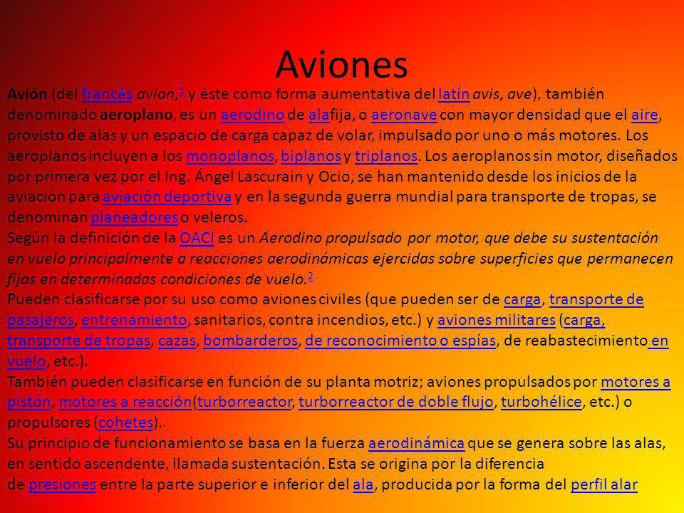 Aviones Avión (del francés avion, 1 y éste como forma aumentativa del latín avis, ave), también denominado aeroplano, es un aerodino de alafija, o aer