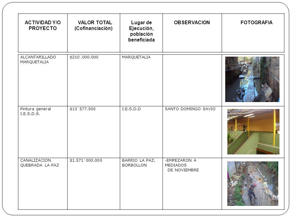 ACTIVIDAD Y/O PROYECTO VALOR TOTAL (Cofinanciación) Lugar de Ejecución, población beneficiada OBSERVACIONFOTOGRAFIA ALCANTARILLADO MARQUETALIA $210´.0