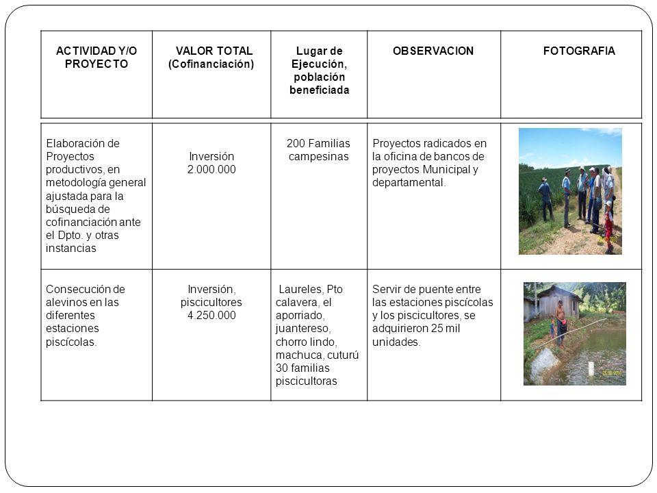 ACTIVIDAD Y/O PROYECTO VALOR TOTAL (Cofinanciación) Lugar de Ejecución, población beneficiada OBSERVACIONFOTOGRAFIA Elaboración de Proyectos productiv