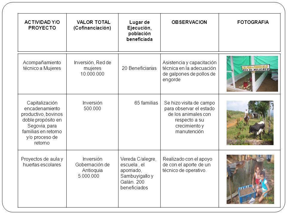 ACTIVIDAD Y/O PROYECTO VALOR TOTAL (Cofinanciación) Lugar de Ejecución, población beneficiada OBSERVACIONFOTOGRAFIA Acompañamiento técnico a Mujeres I
