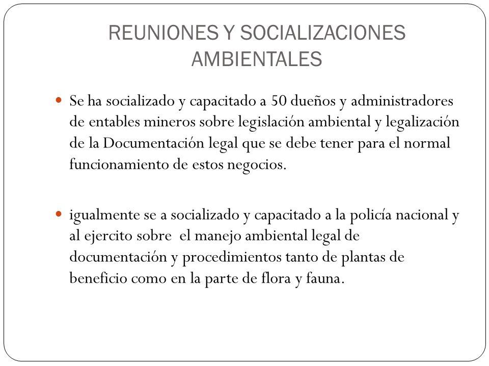 REUNIONES Y SOCIALIZACIONES AMBIENTALES Se ha socializado y capacitado a 50 dueños y administradores de entables mineros sobre legislación ambiental y