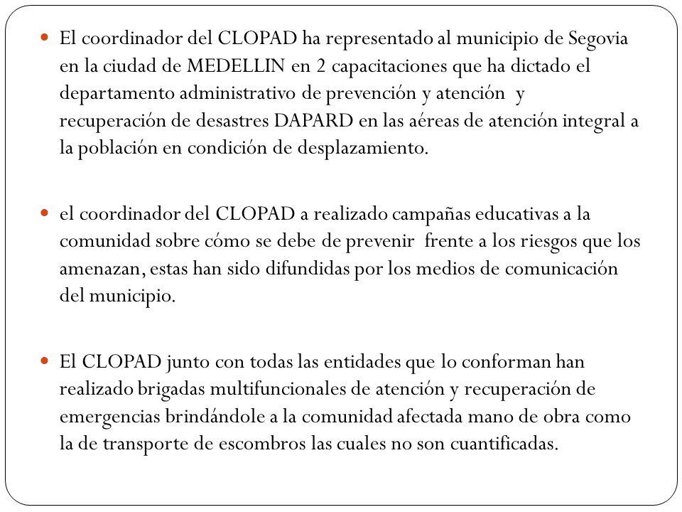 El coordinador del CLOPAD ha representado al municipio de Segovia en la ciudad de MEDELLIN en 2 capacitaciones que ha dictado el departamento administ