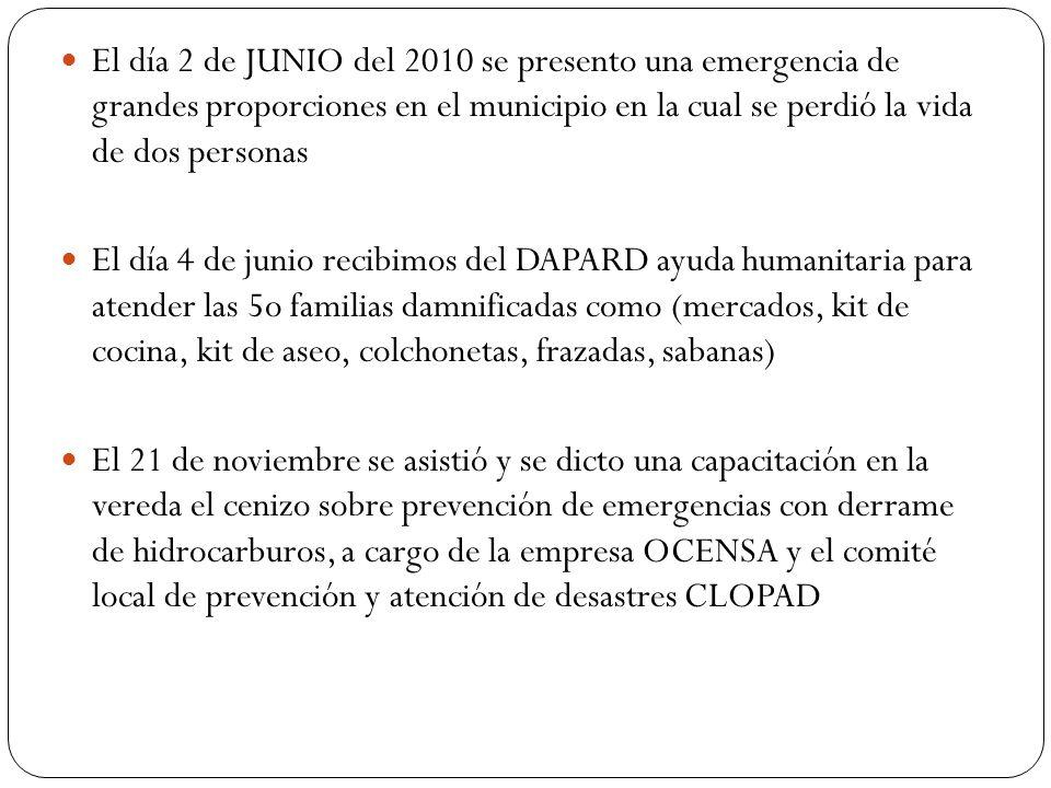 El día 2 de JUNIO del 2010 se presento una emergencia de grandes proporciones en el municipio en la cual se perdió la vida de dos personas El día 4 de