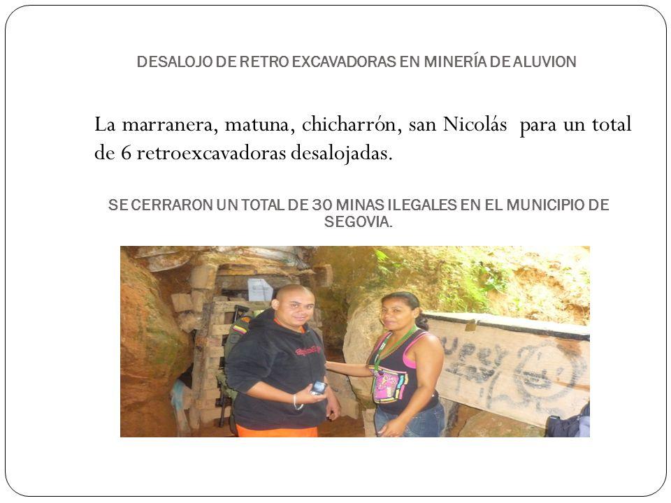 DESALOJO DE RETRO EXCAVADORAS EN MINERÍA DE ALUVION La marranera, matuna, chicharrón, san Nicolás para un total de 6 retroexcavadoras desalojadas. SE