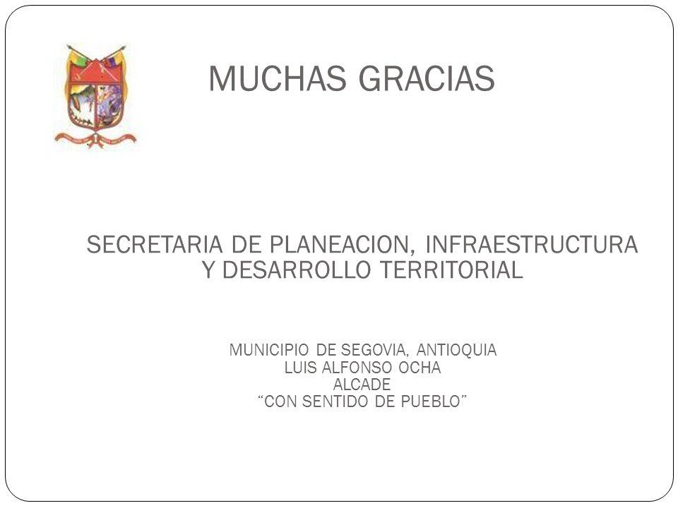 MUCHAS GRACIAS SECRETARIA DE PLANEACION, INFRAESTRUCTURA Y DESARROLLO TERRITORIAL MUNICIPIO DE SEGOVIA, ANTIOQUIA LUIS ALFONSO OCHA ALCADE CON SENTIDO