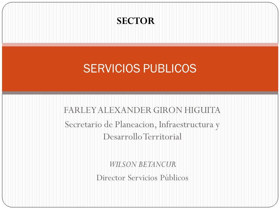 SERVICIOS PUBLICOS SECTOR FARLEY ALEXANDER GIRON HIGUITA Secretario de Planeacion, Infraestructura y Desarrollo Territorial WILSON BETANCUR Director S