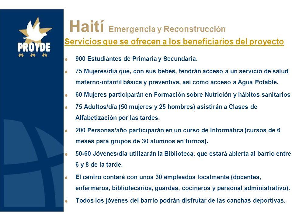 Haití Emergencia y Reconstrucción Servicios que se ofrecen a los beneficiarios del proyecto 900 Estudiantes de Primaria y Secundaria. 75 Mujeres/día q