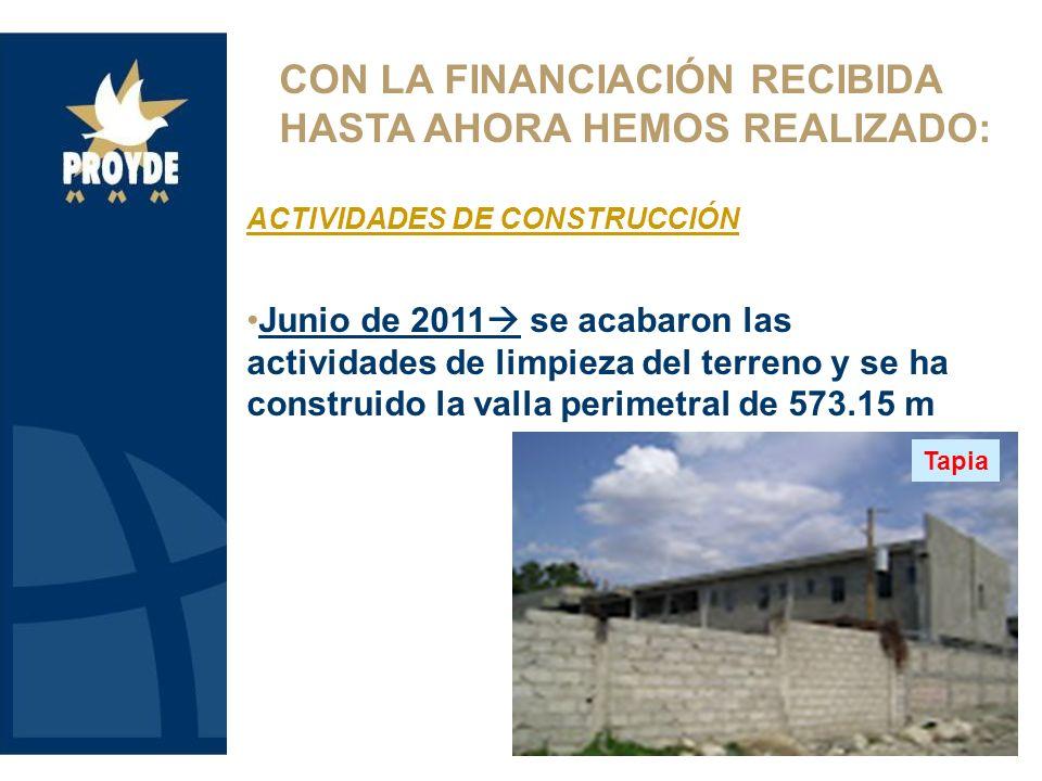 CON LA FINANCIACIÓN RECIBIDA HASTA AHORA HEMOS REALIZADO: ACTIVIDADES DE CONSTRUCCIÓN Junio de 2011 se acabaron las actividades de limpieza del terreno y se ha construido la valla perimetral de 573.15 m Tapia