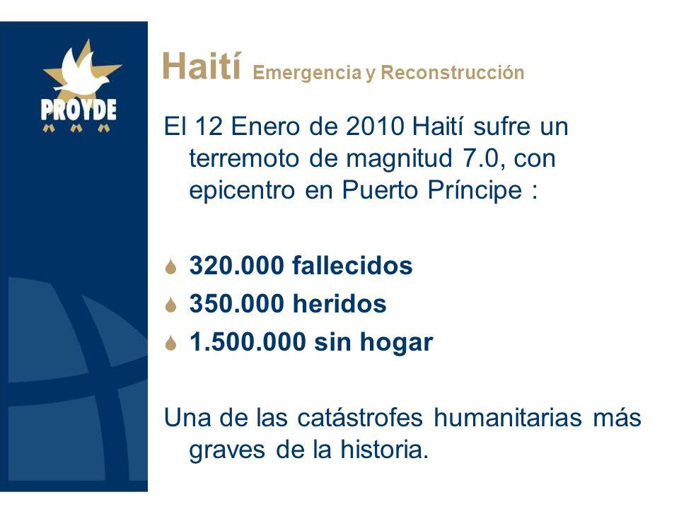 El 12 Enero de 2010 Haití sufre un terremoto de magnitud 7.0, con epicentro en Puerto Príncipe : 320.000 fallecidos 350.000 heridos 1.500.000 sin hoga