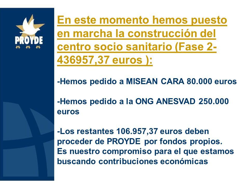 En este momento hemos puesto en marcha la construcción del centro socio sanitario (Fase 2- 436957,37 euros ): -Hemos pedido a MISEAN CARA 80.000 euros -Hemos pedido a la ONG ANESVAD 250.000 euros -Los restantes 106.957,37 euros deben proceder de PROYDE por fondos propios.