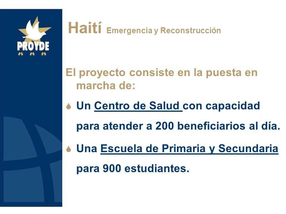 El proyecto consiste en la puesta en marcha de: Un Centro de Salud con capacidad para atender a 200 beneficiarios al día.