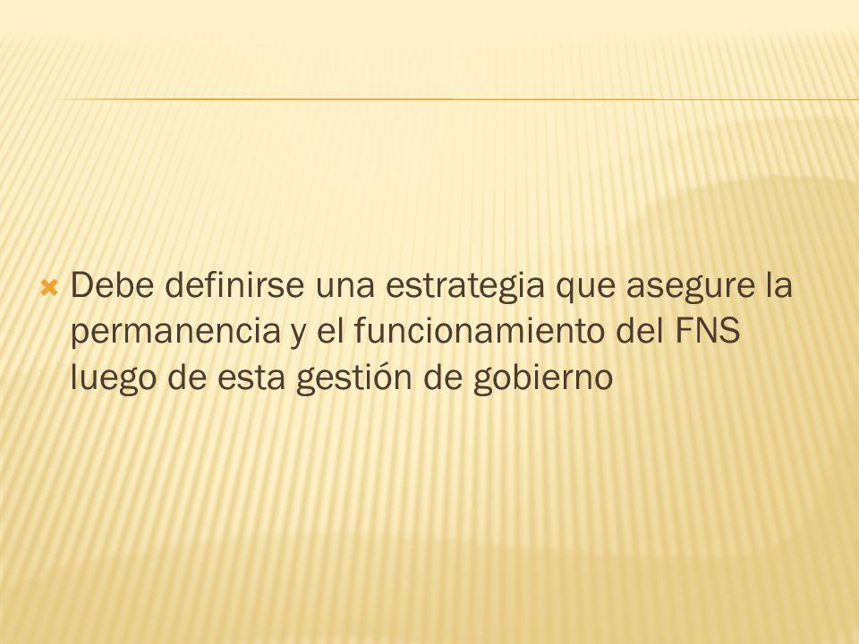 Debe definirse una estrategia que asegure la permanencia y el funcionamiento del FNS luego de esta gestión de gobierno