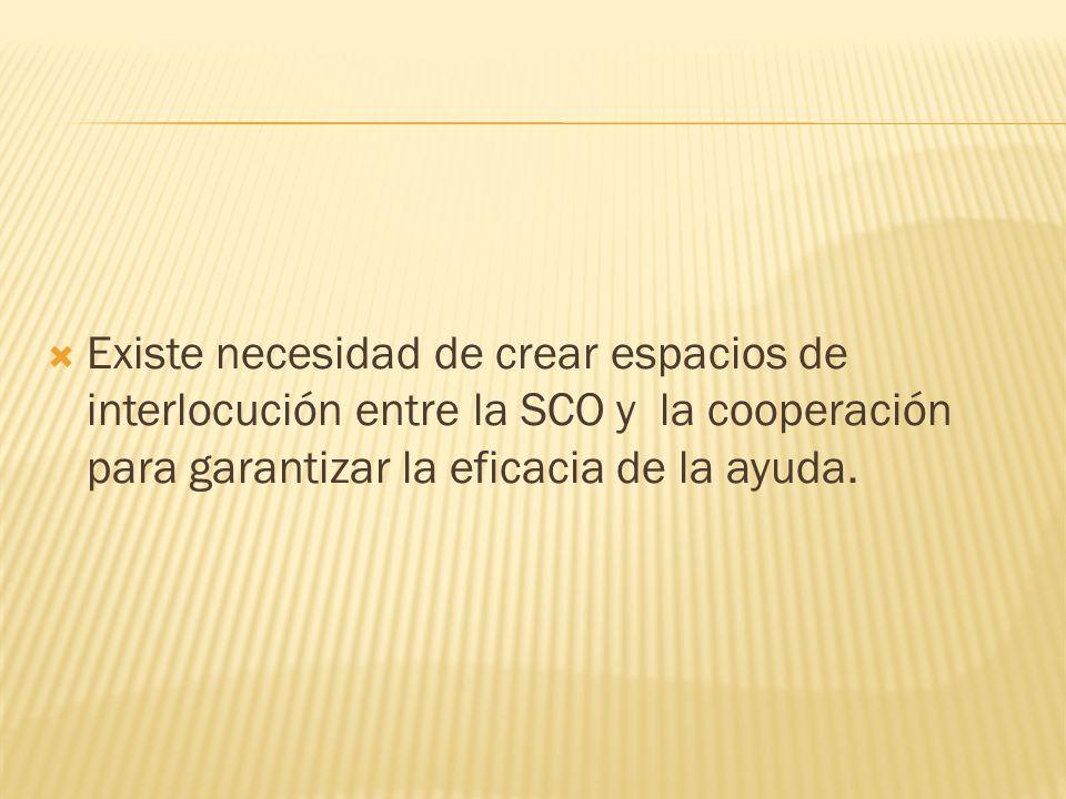 Existe necesidad de crear espacios de interlocución entre la SCO y la cooperación para garantizar la eficacia de la ayuda.