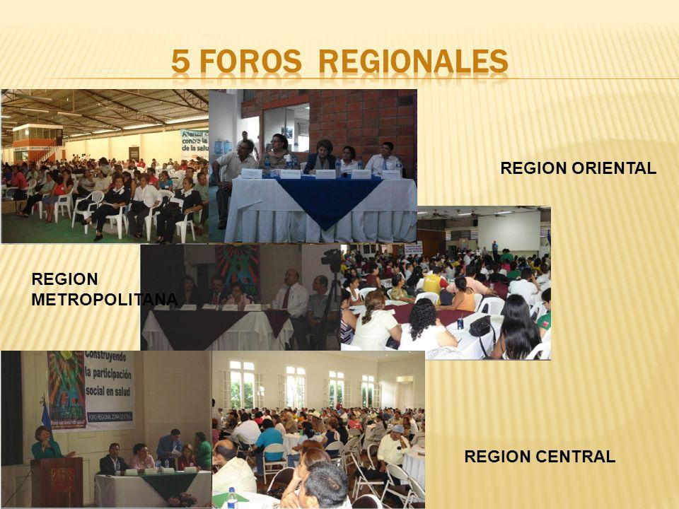 REGION ORIENTAL REGION METROPOLITANA REGION CENTRAL