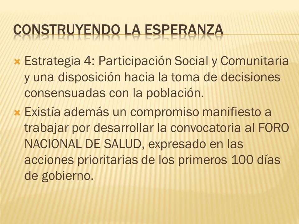Estrategia 4: Participación Social y Comunitaria y una disposición hacia la toma de decisiones consensuadas con la población.