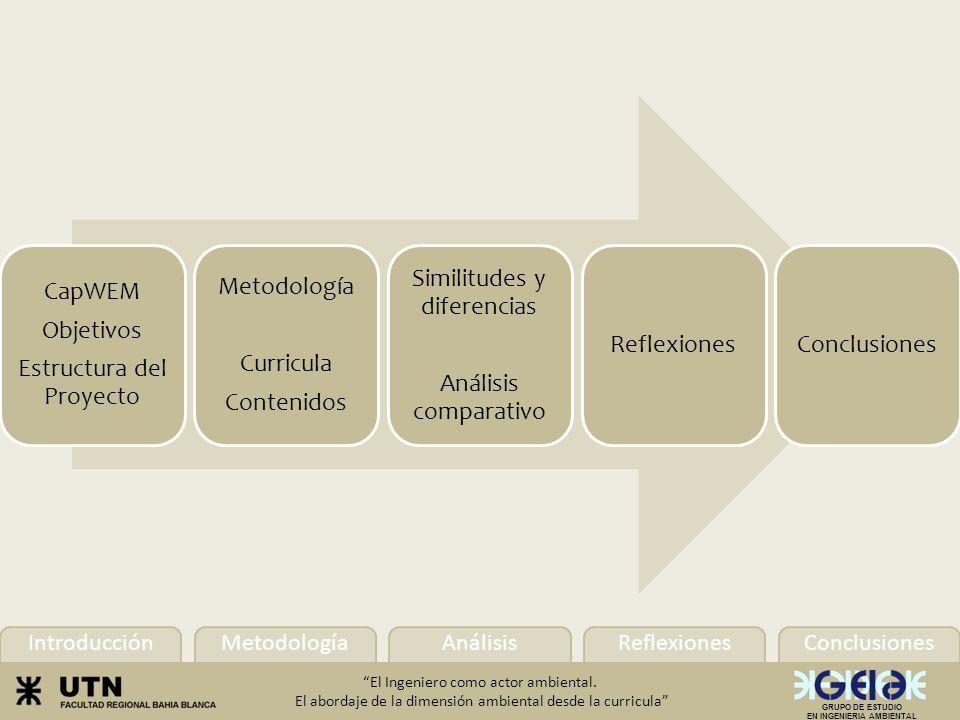 Introducción Conclusiones Metodología AnálisisReflexiones El Ingeniero como actor ambiental.