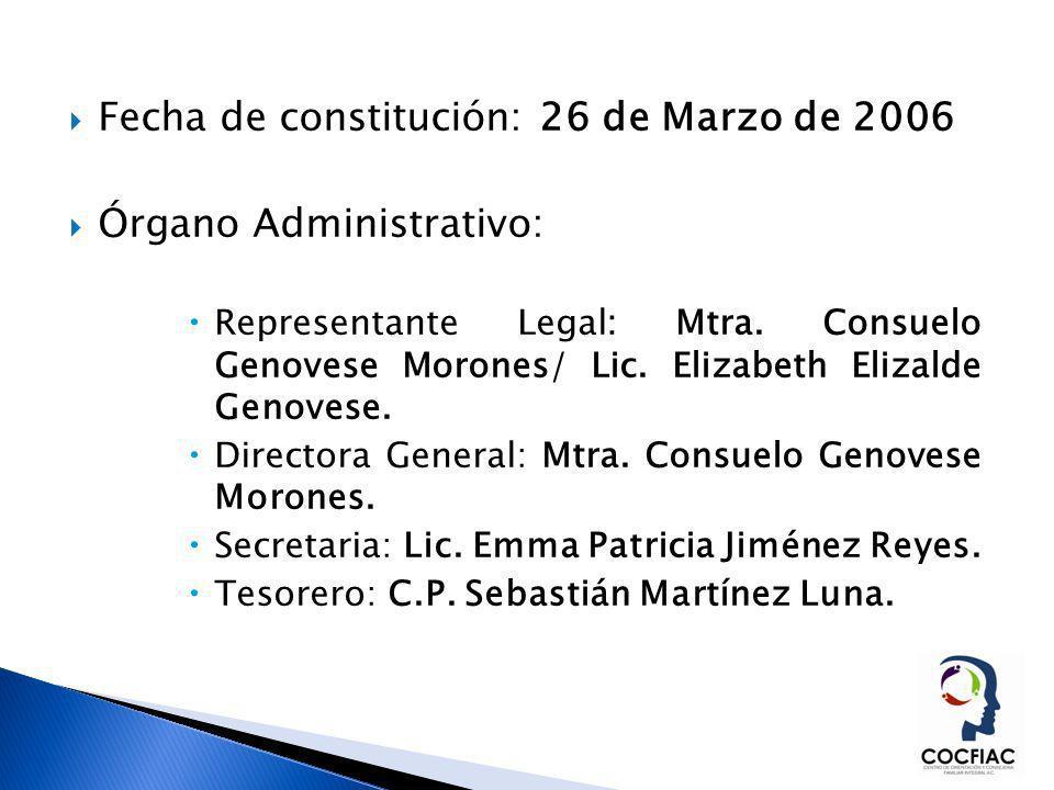 Fecha de constitución: 26 de Marzo de 2006 Órgano Administrativo: Representante Legal: Mtra. Consuelo Genovese Morones/ Lic. Elizabeth Elizalde Genove