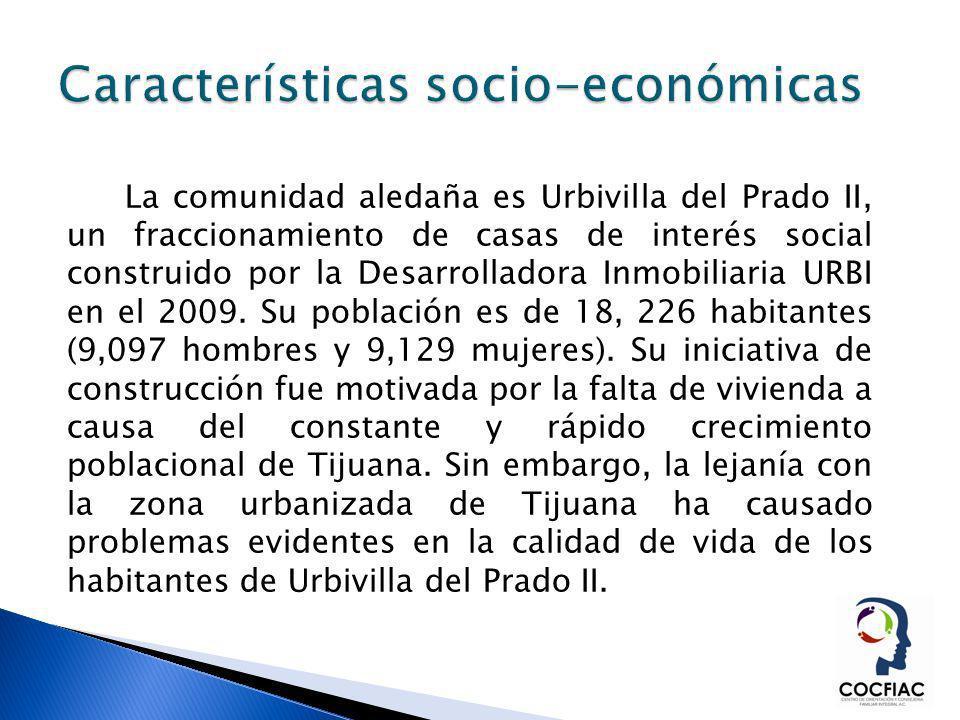 La comunidad aledaña es Urbivilla del Prado II, un fraccionamiento de casas de interés social construido por la Desarrolladora Inmobiliaria URBI en el