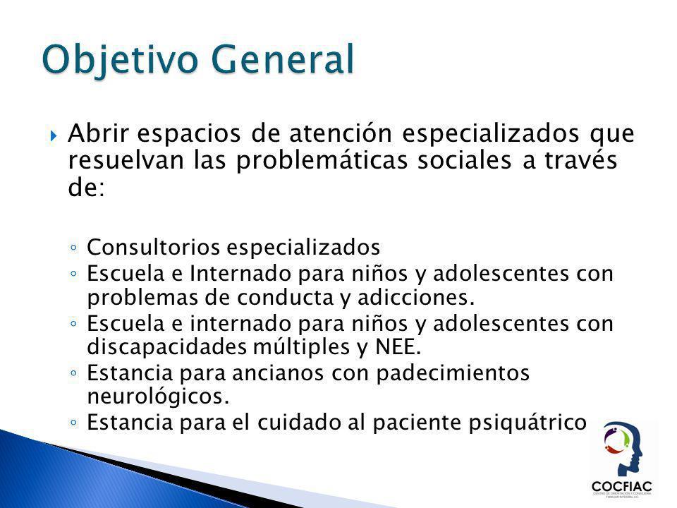 Abrir espacios de atención especializados que resuelvan las problemáticas sociales a través de: Consultorios especializados Escuela e Internado para n