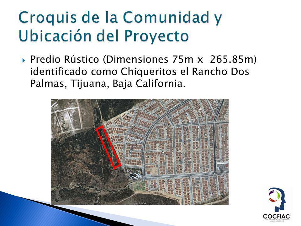 Predio Rústico (Dimensiones 75m x 265.85m) identificado como Chiqueritos el Rancho Dos Palmas, Tijuana, Baja California.