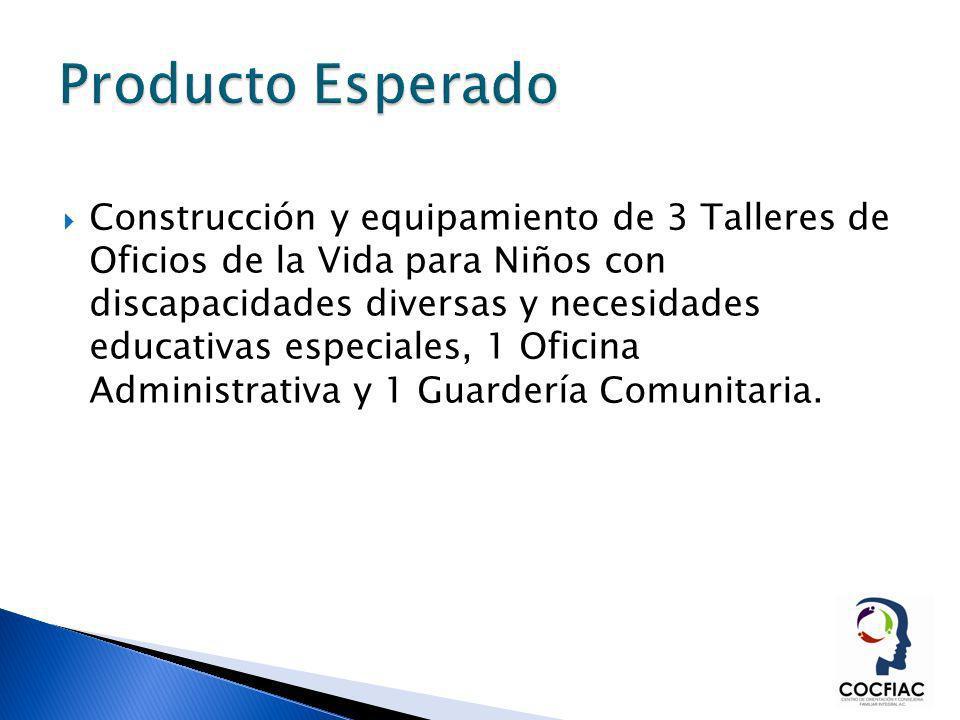 Construcción y equipamiento de 3 Talleres de Oficios de la Vida para Niños con discapacidades diversas y necesidades educativas especiales, 1 Oficina