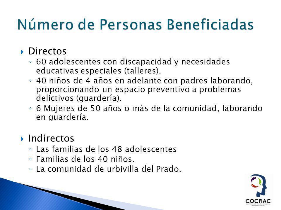 Directos 60 adolescentes con discapacidad y necesidades educativas especiales (talleres). 40 niños de 4 años en adelante con padres laborando, proporc