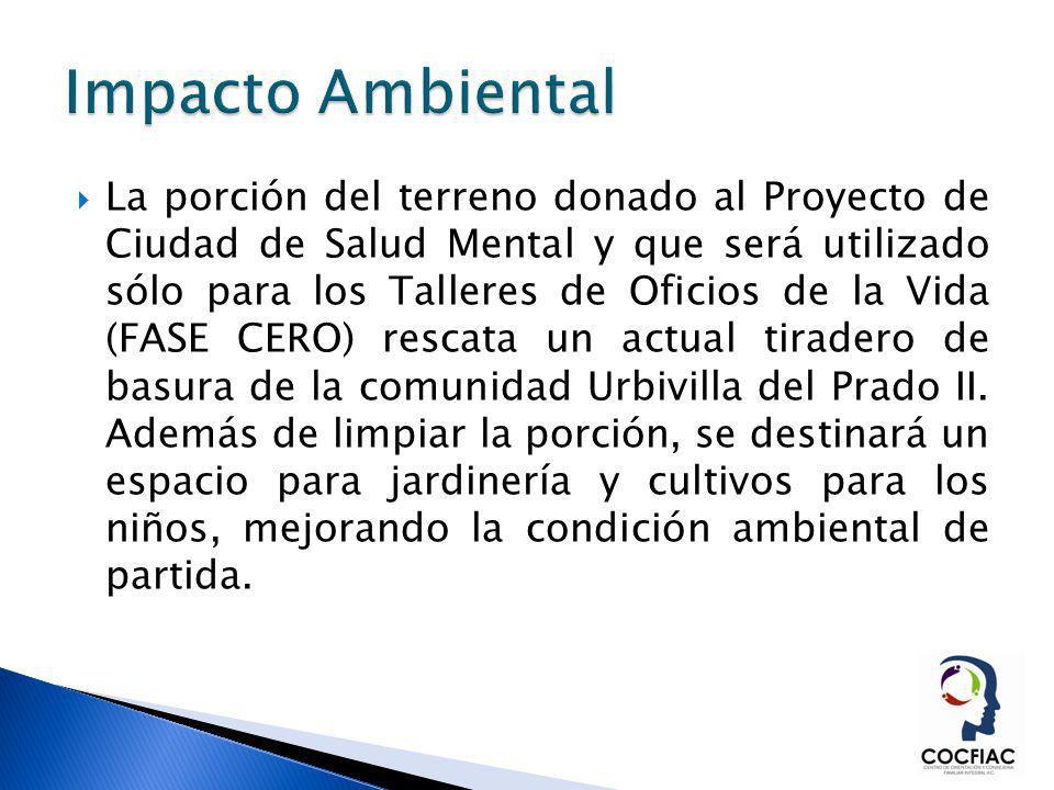 La porción del terreno donado al Proyecto de Ciudad de Salud Mental y que será utilizado sólo para los Talleres de Oficios de la Vida (FASE CERO) resc