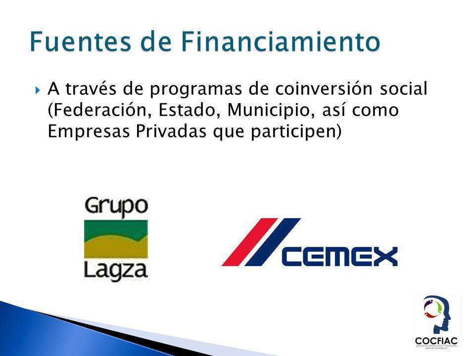 A través de programas de coinversión social (Federación, Estado, Municipio, así como Empresas Privadas que participen)