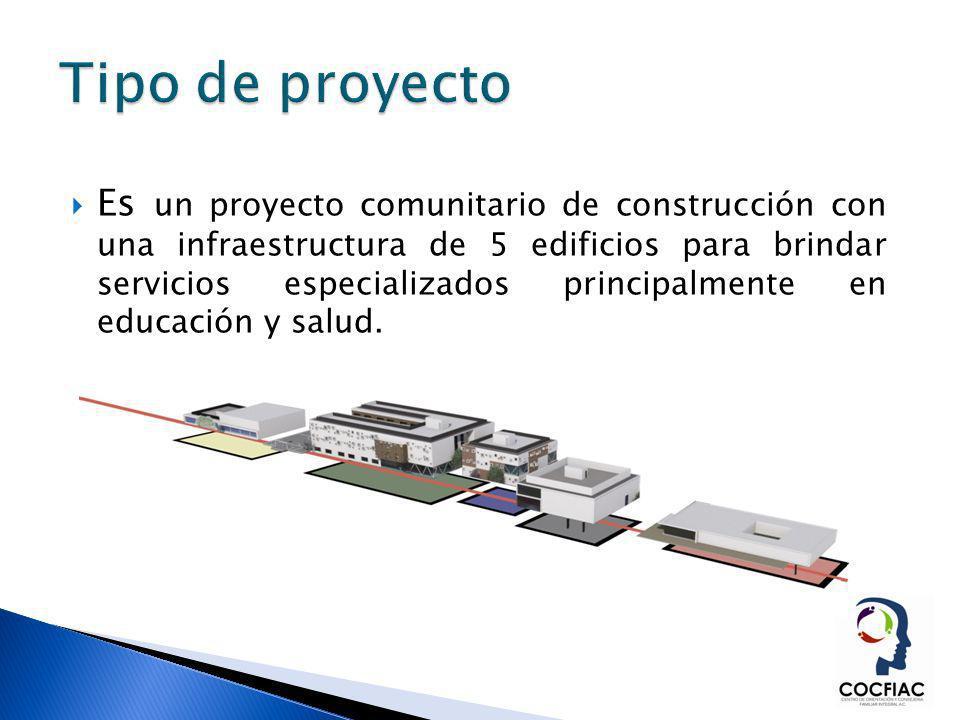 Es un proyecto comunitario de construcción con una infraestructura de 5 edificios para brindar servicios especializados principalmente en educación y