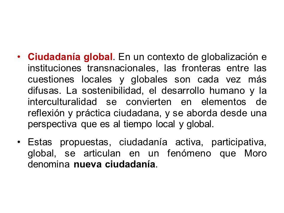 Ciudadanía global. En un contexto de globalización e instituciones transnacionales, las fronteras entre las cuestiones locales y globales son cada vez