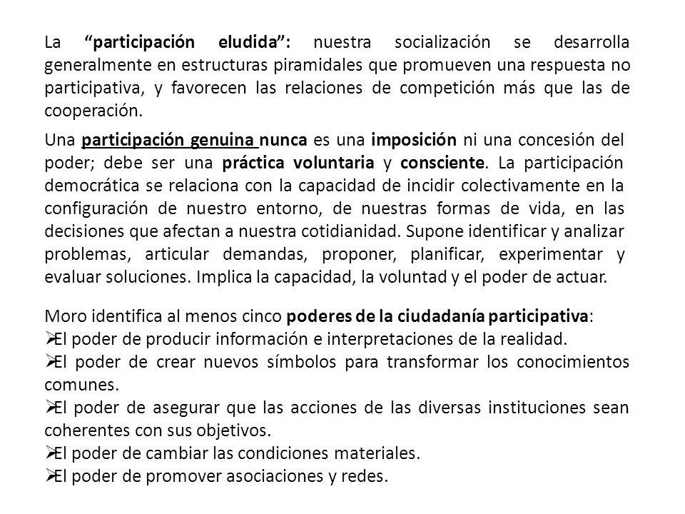 La participación eludida: nuestra socialización se desarrolla generalmente en estructuras piramidales que promueven una respuesta no participativa, y