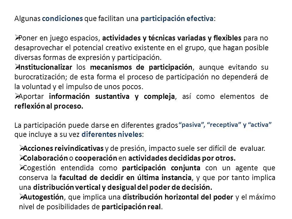Algunas condiciones que facilitan una participación efectiva: Poner en juego espacios, actividades y técnicas variadas y flexibles para no desaprovech
