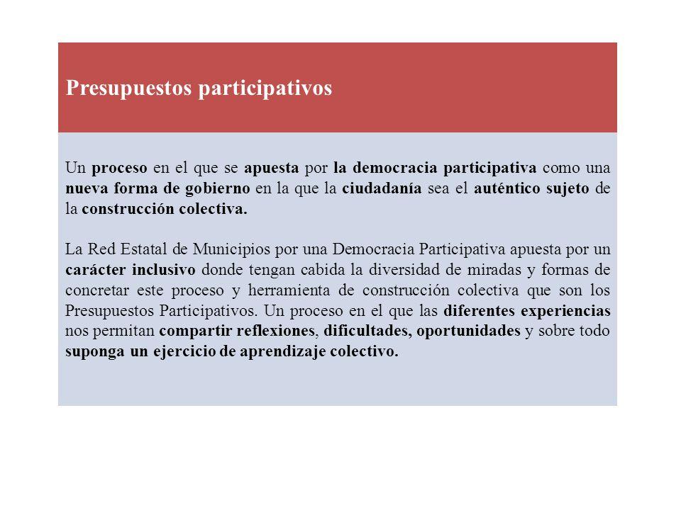 Presupuestos participativos Un proceso en el que se apuesta por la democracia participativa como una nueva forma de gobierno en la que la ciudadanía s