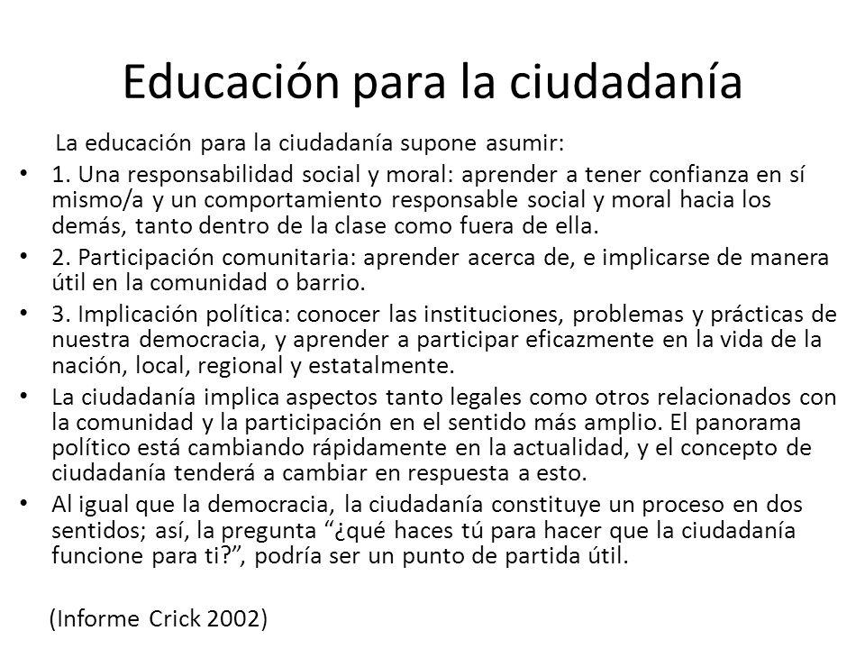 Educación para la ciudadanía La educación para la ciudadanía supone asumir: 1. Una responsabilidad social y moral: aprender a tener confianza en sí mi