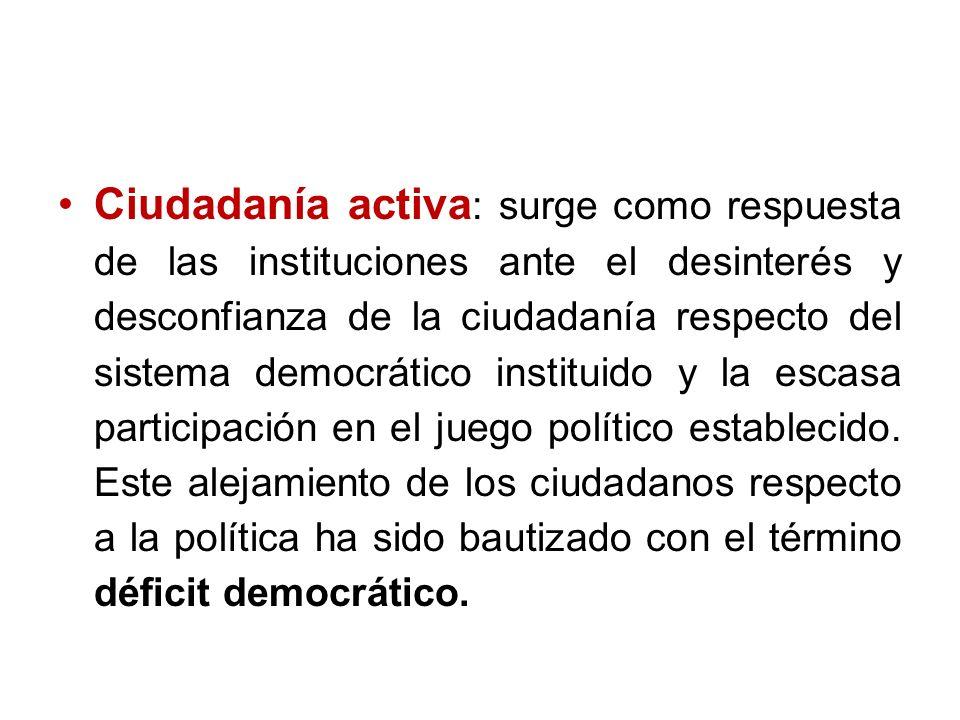 Ciudadanía activa : surge como respuesta de las instituciones ante el desinterés y desconfianza de la ciudadanía respecto del sistema democrático inst