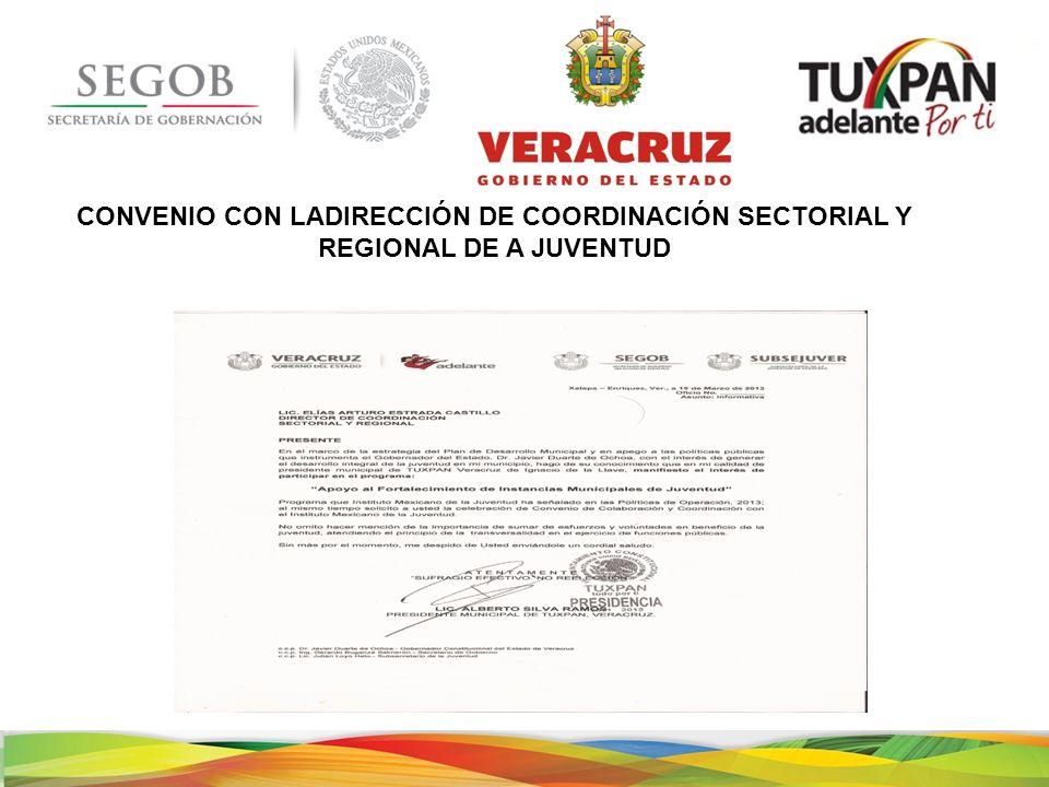 CONVENIO CON LADIRECCIÓN DE COORDINACIÓN SECTORIAL Y REGIONAL DE A JUVENTUD