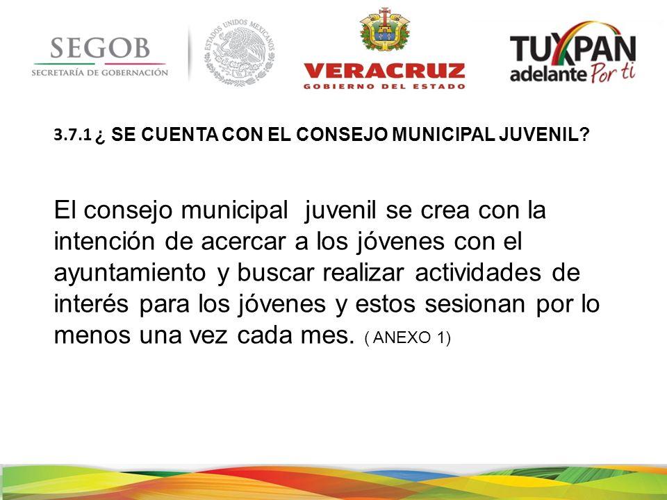 ¿ SE CUENTA CON EL CONSEJO MUNICIPAL JUVENIL.