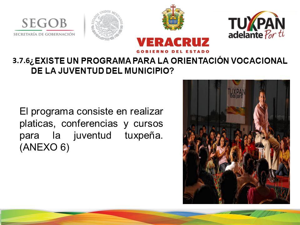 ¿EXISTE UN PROGRAMA PARA LA ORIENTACIÓN VOCACIONAL DE LA JUVENTUD DEL MUNICIPIO.