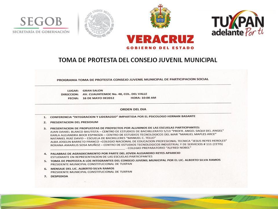 TOMA DE PROTESTA DEL CONSEJO JUVENIL MUNICIPAL