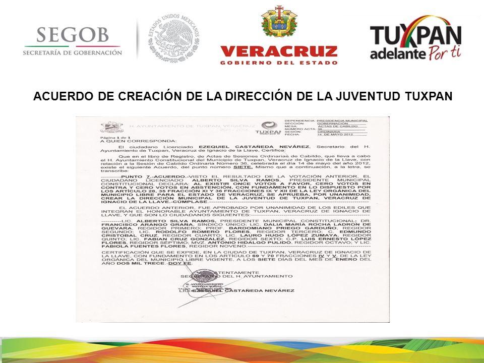 ACUERDO DE CREACIÓN DE LA DIRECCIÓN DE LA JUVENTUD TUXPAN